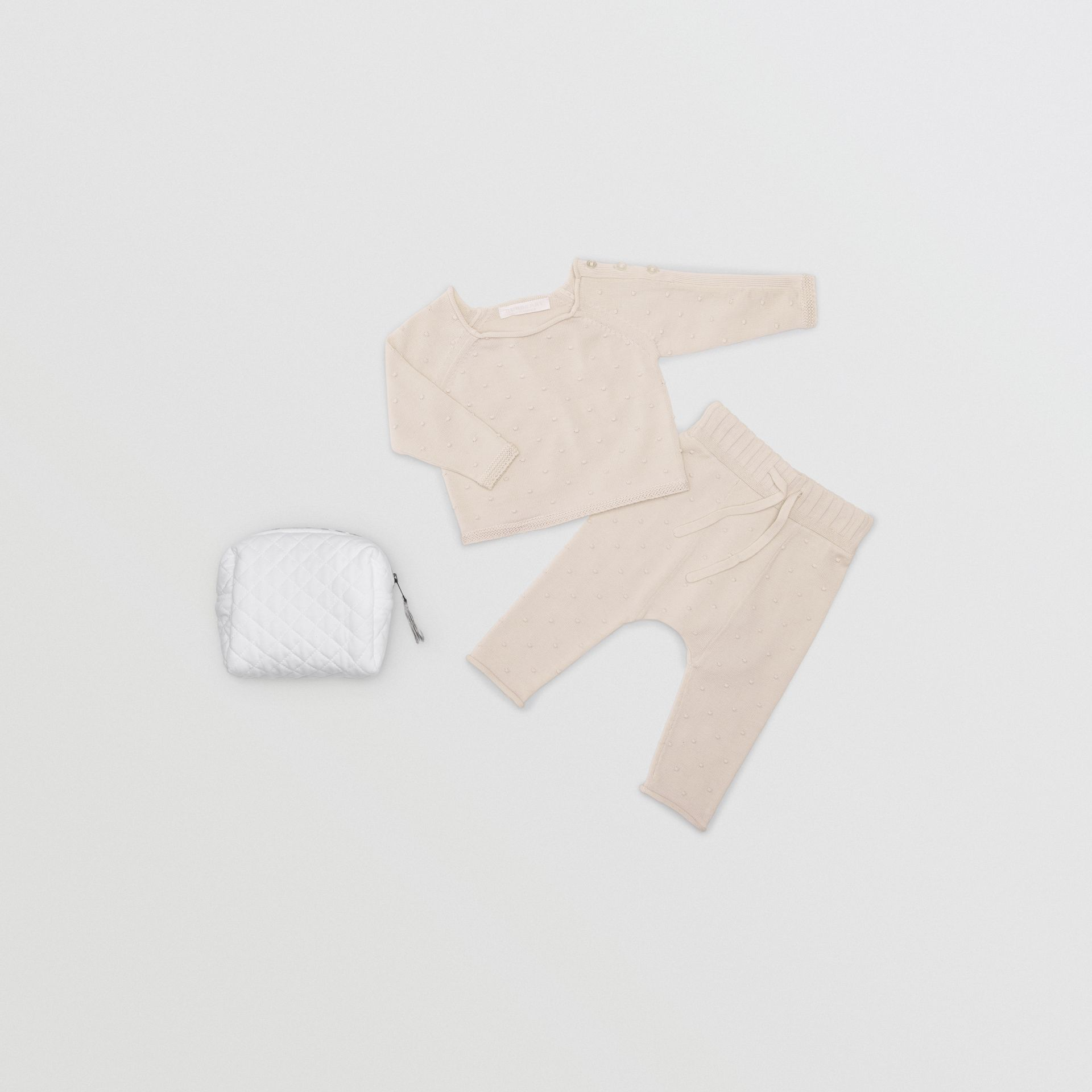 Bobble Knit Cotton Two-piece Baby Gift Set in Stone - Children | Burberry - gallery image 0