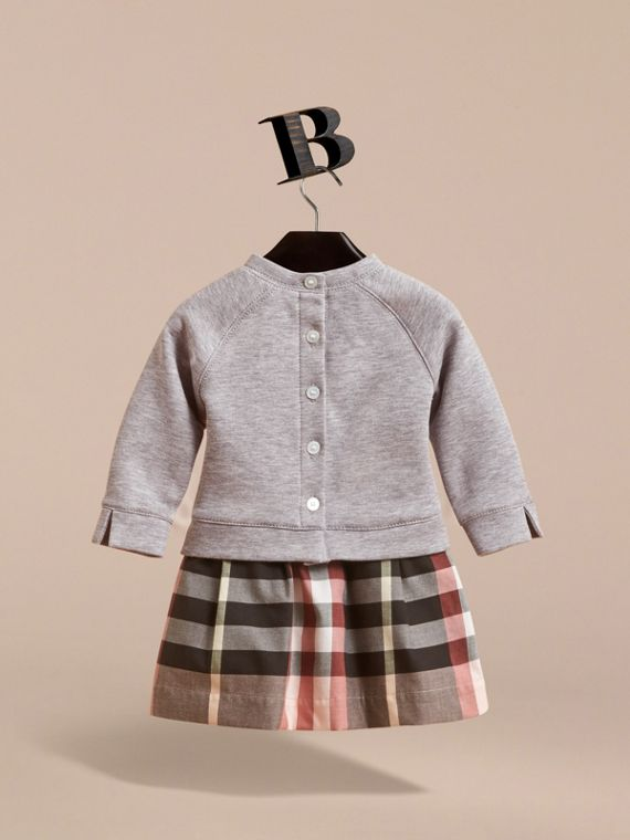 Contrast Check Sweater Dress in Dusty Pink | Burberry - cell image 3