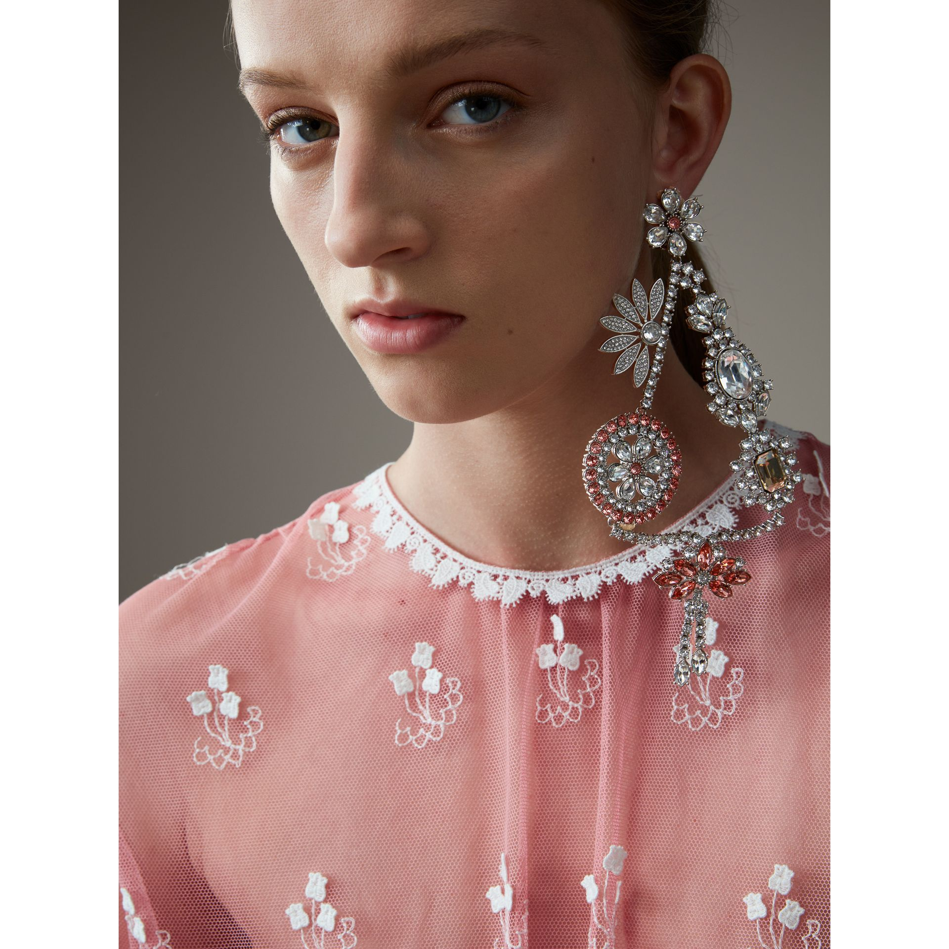 Short-sleeve Embroidered Tulle Dress in Rose Pink/white - Women | Burberry - gallery image 6