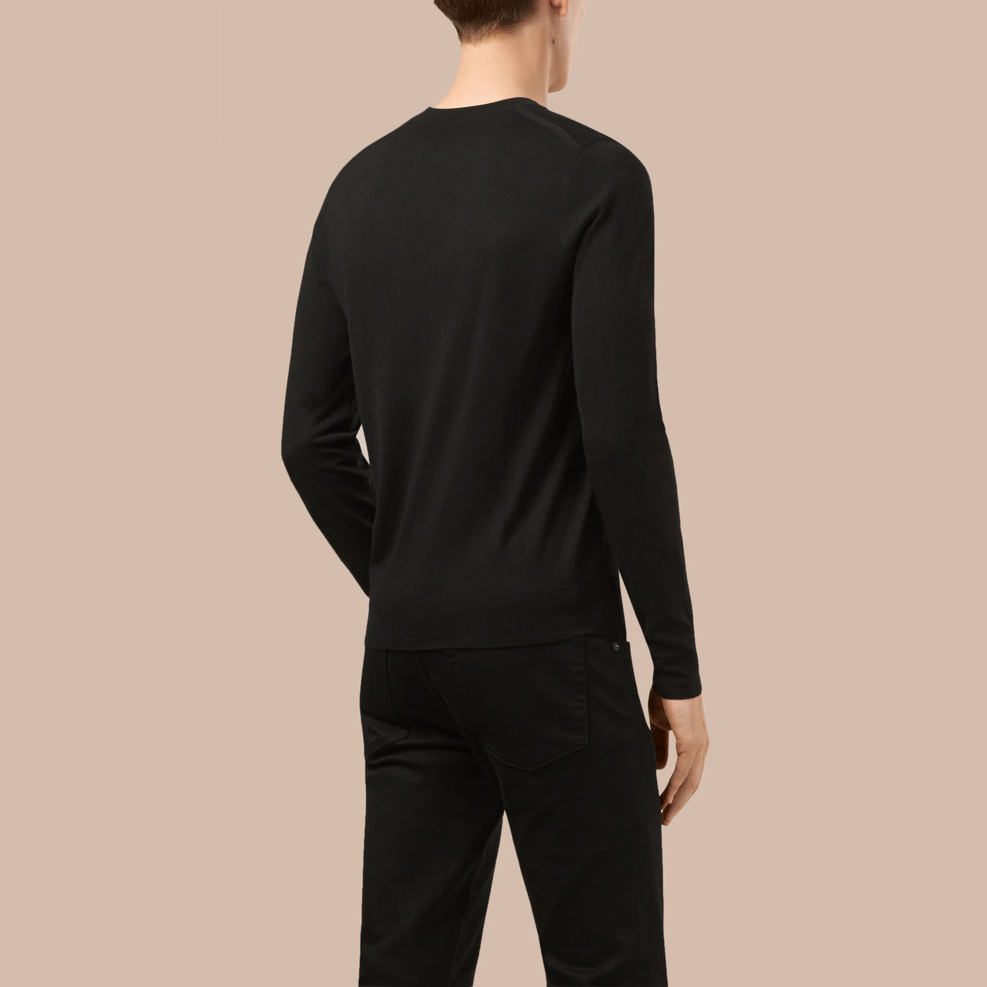 Black Crew Neck Merino Wool Sweater Black - gallery image 3