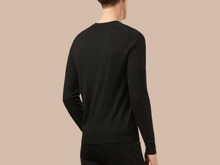 Black Crew Neck Merino Wool Sweater Black - cell image 2