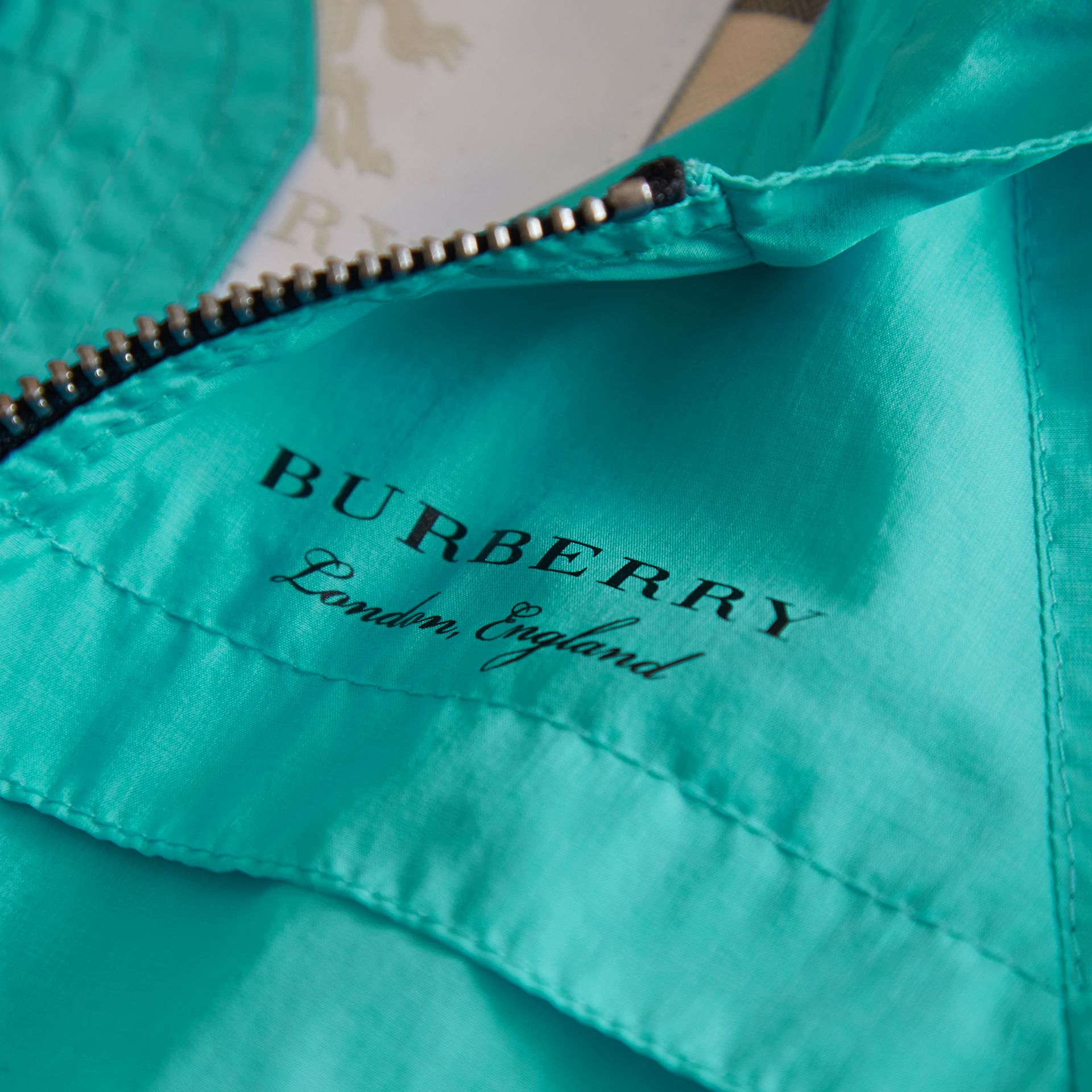 Showerproof Hooded Technical Jacket in Bright Turquoise | Burberry - gallery image 2