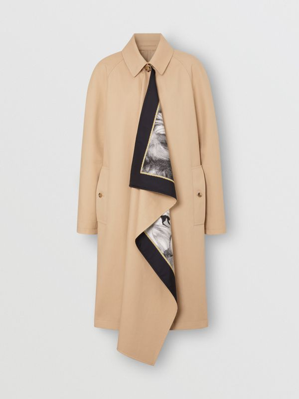 Animalia Print Silk Scarf Detail Cotton Car Coat in Soft Fawn - Women | Burberry - cell image 3