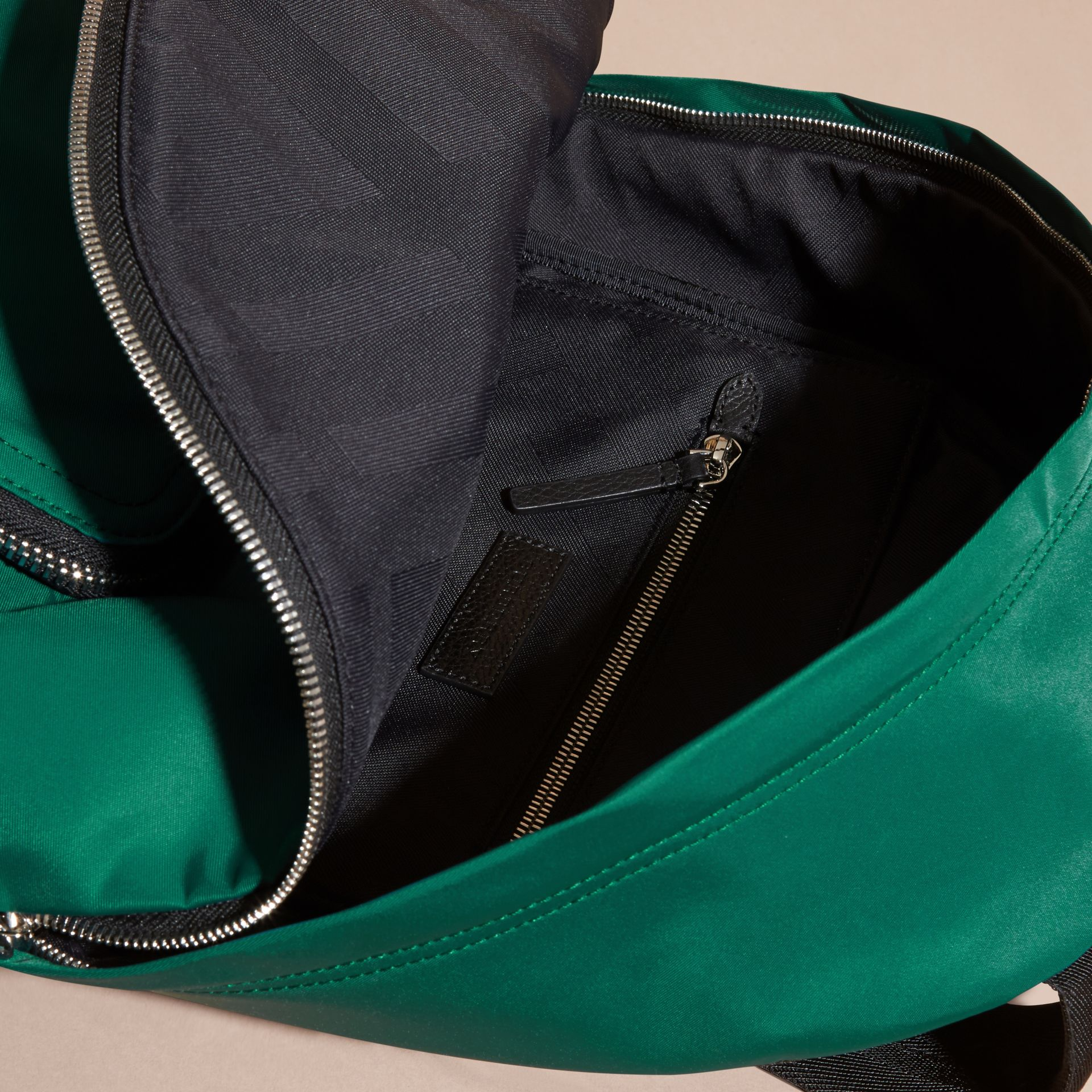Pine green Leather Trim Nylon Backpack Pine Green - gallery image 5