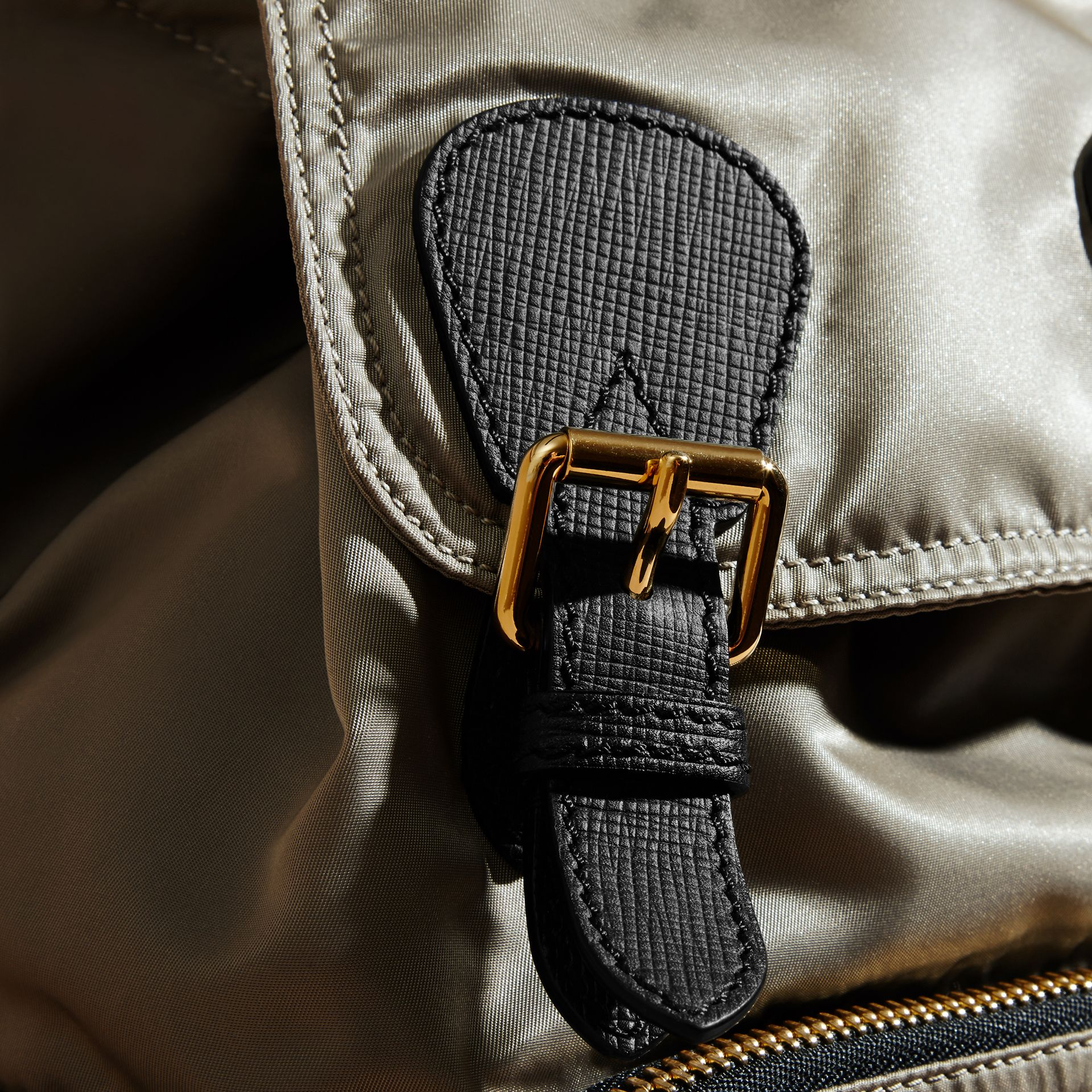 The Medium Rucksack in Technical Nylon and Leather Thistle Grey - gallery image 7