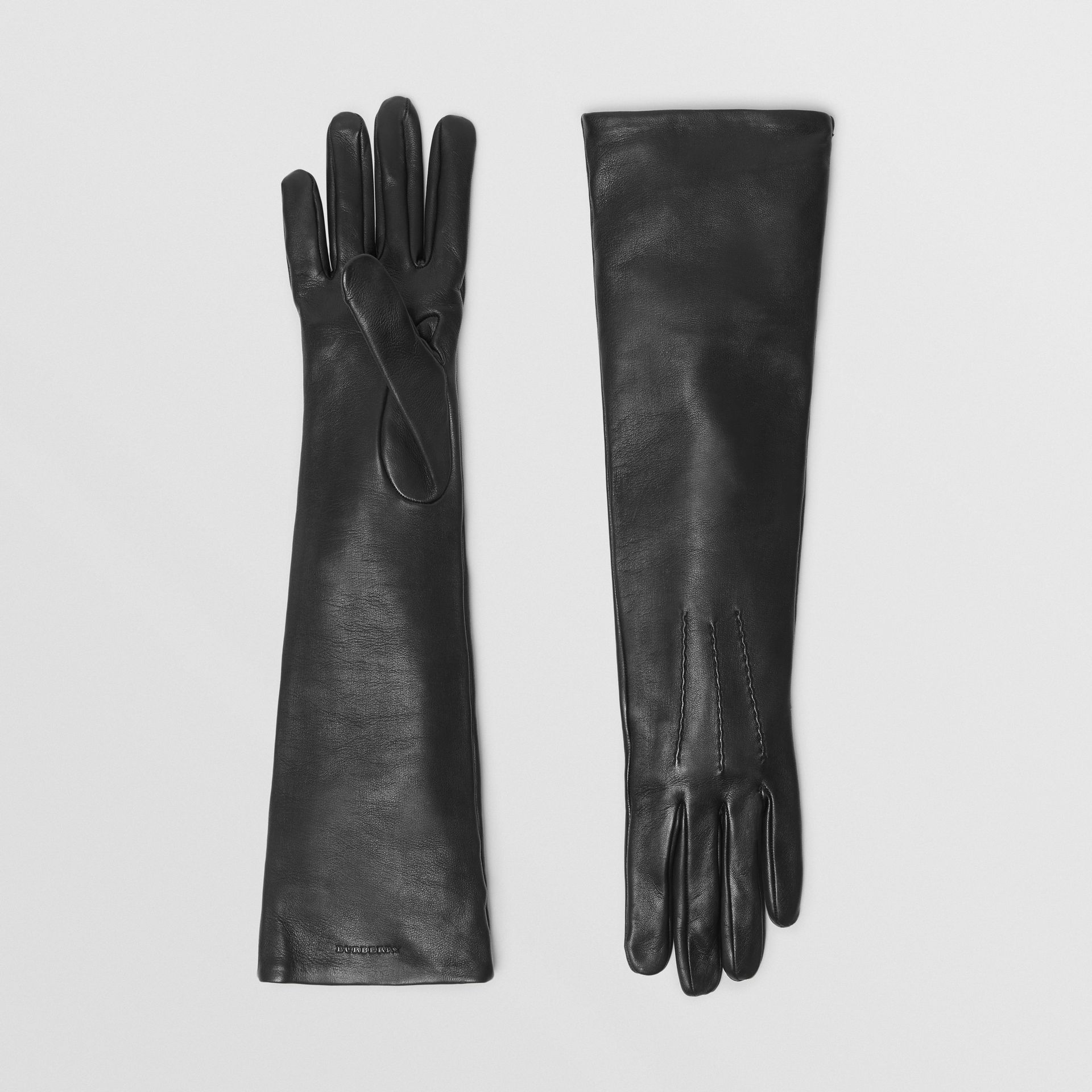 Long Silk-lined Lambskin Gloves in Black - Women | Burberry - gallery image 0