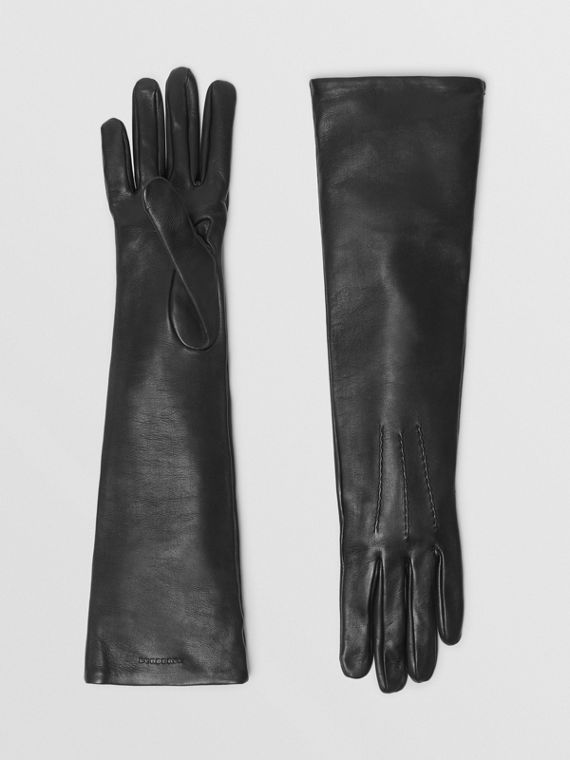 Long Silk-lined Lambskin Gloves in Black