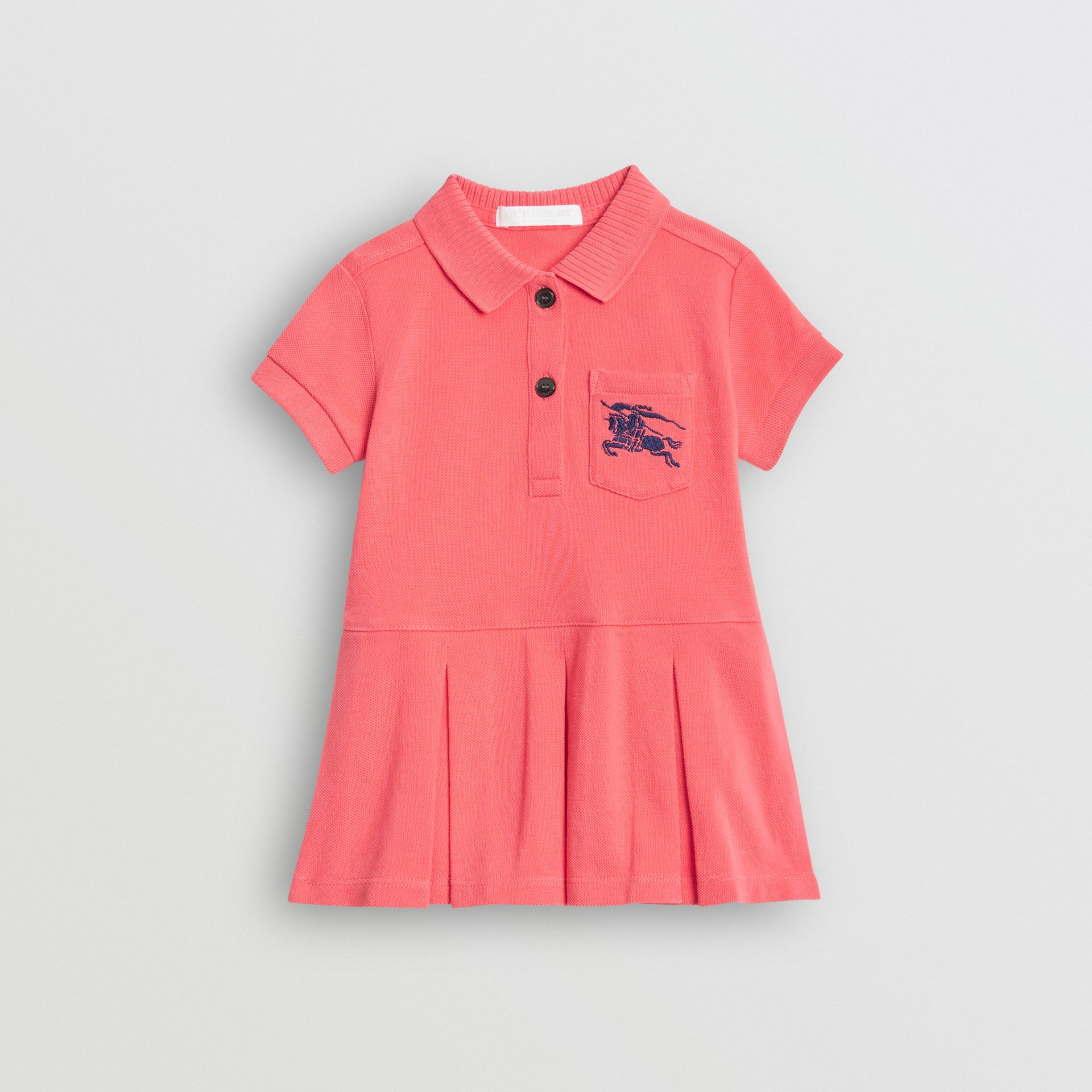 EKD Logo Cotton Polo Dress in Bright Pink - Children | Burberry United Kingdom - gallery image 0