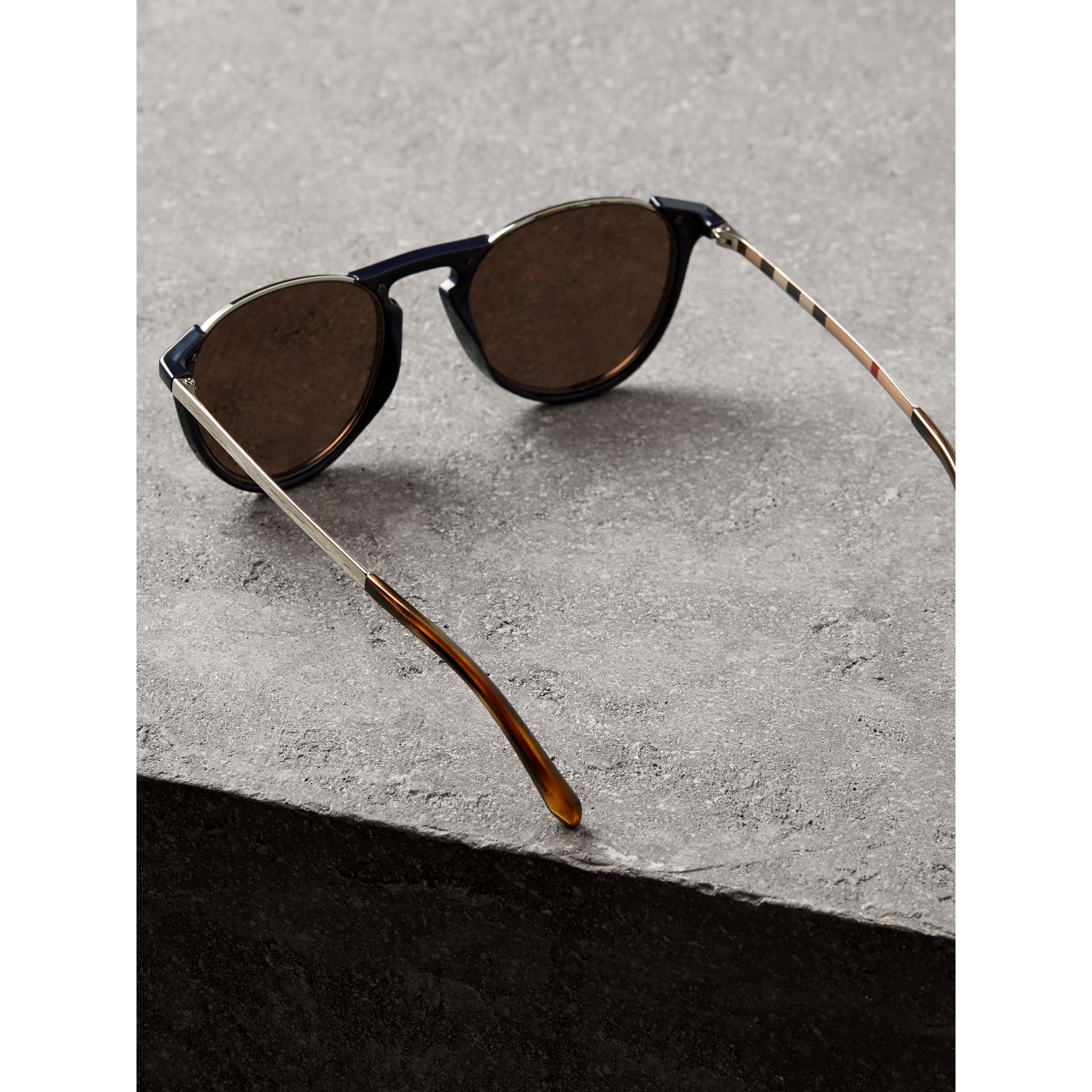 Keyhole Pilot Round Frame Sunglasses in Blue - Men | Burberry - gallery image 4