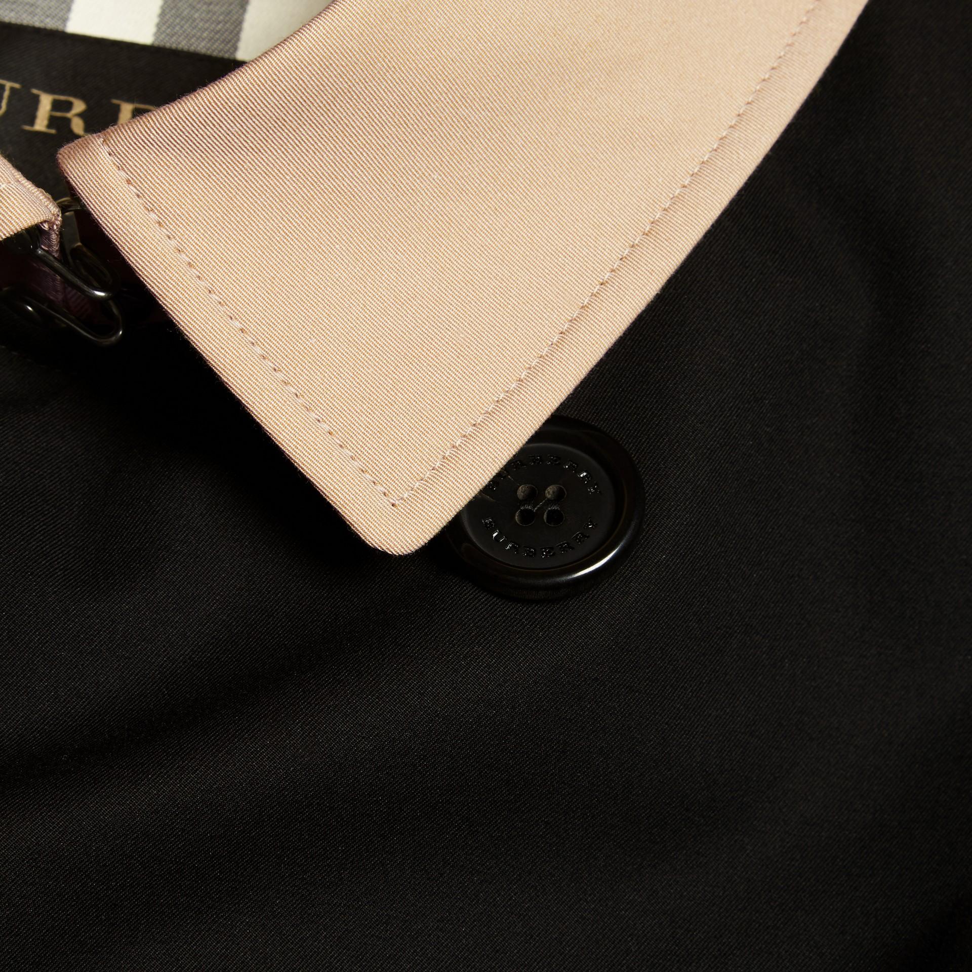 Black Contrast-collar Cotton Gabardine Trench Coat - gallery image 2