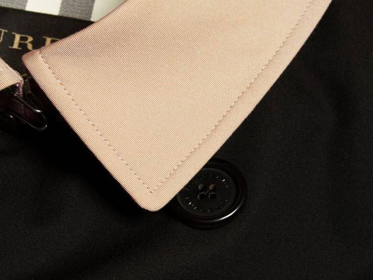 Black Contrast-collar Cotton Gabardine Trench Coat - cell image 1