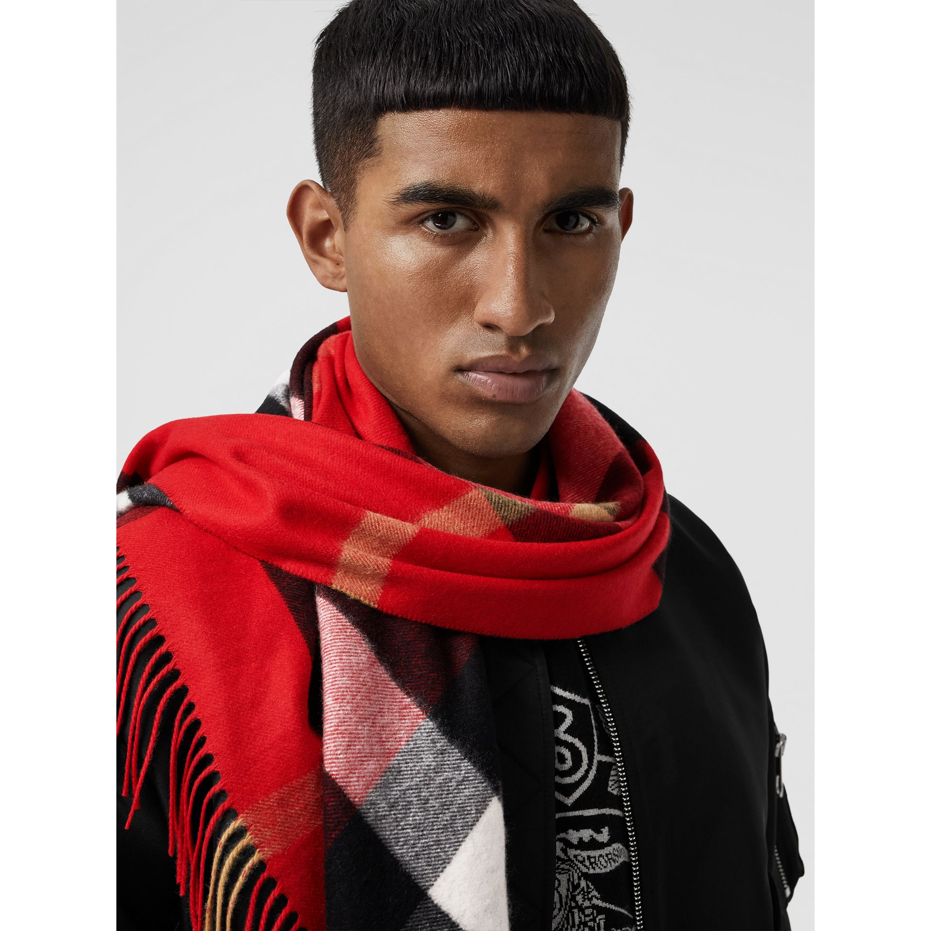 The Burberry Bandana in Check Cashmere in Bright Military Red | Burberry United Kingdom - gallery image 6