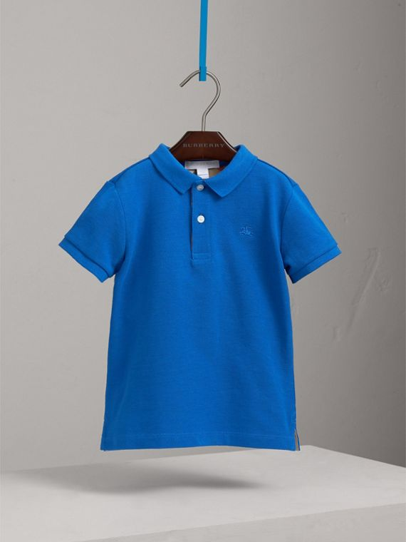 Check Placket Polo Shirt in Cobalt Blue - Boy | Burberry Australia - cell image 2
