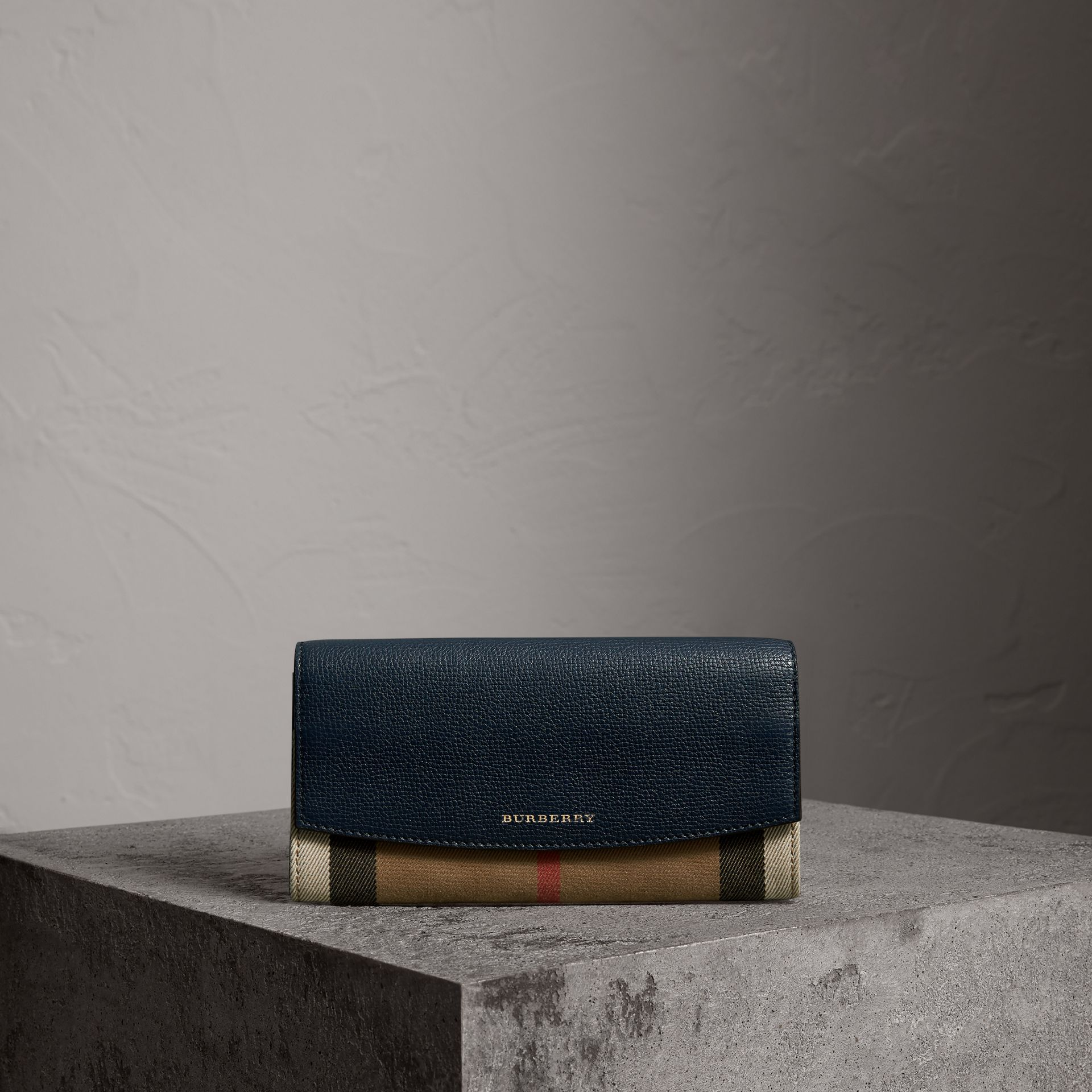 House Check And Leather Continental Wallet in Ink Blue - Women | Burberry - gallery image 0