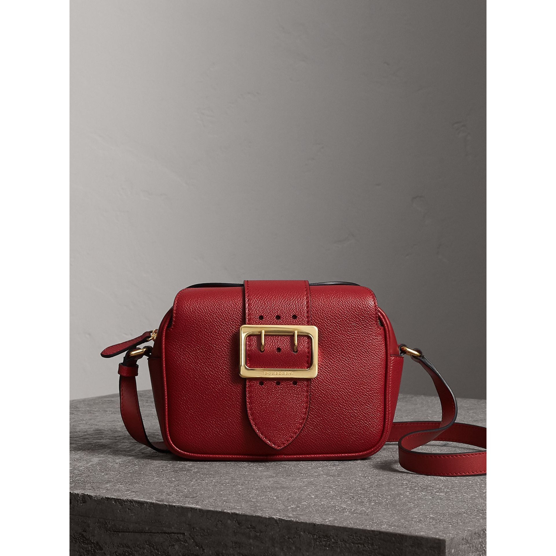 The Small Buckle Crossbody Bag in Leather in Parade Red - Women | Burberry - gallery image 0