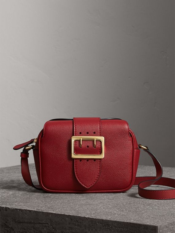 The Small Buckle Crossbody Bag in Leather in Parade Red