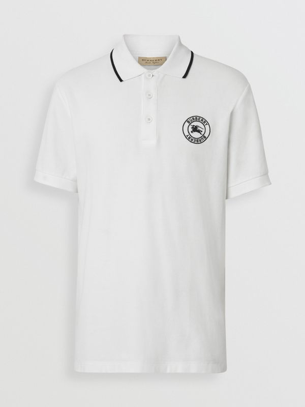Embroidered Logo Cotton Piqué Polo Shirt in White - Men | Burberry Australia - cell image 3
