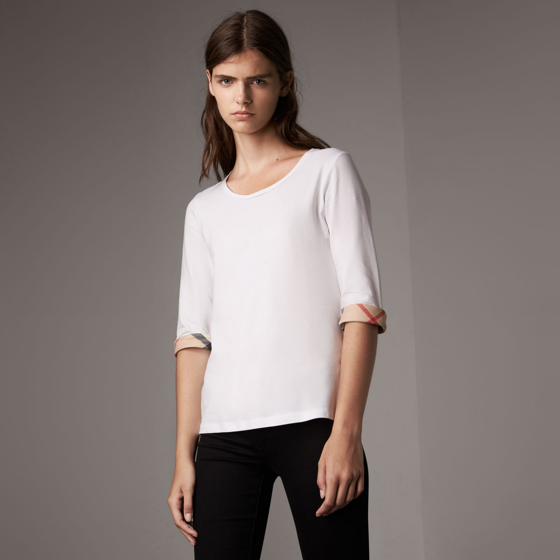 Check Cuff Stretch-Cotton Top in White - Women | Burberry Australia - gallery image 0