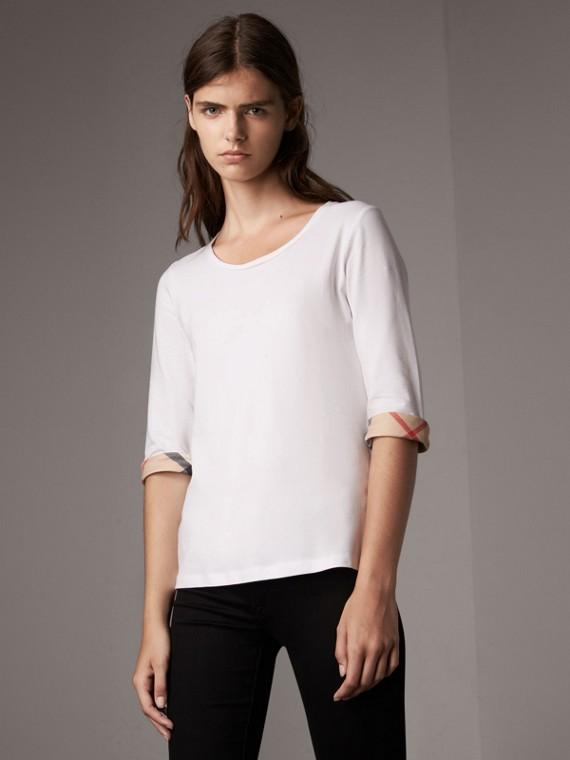 Camisa de algodão stretch com punhos xadrez (Branco)