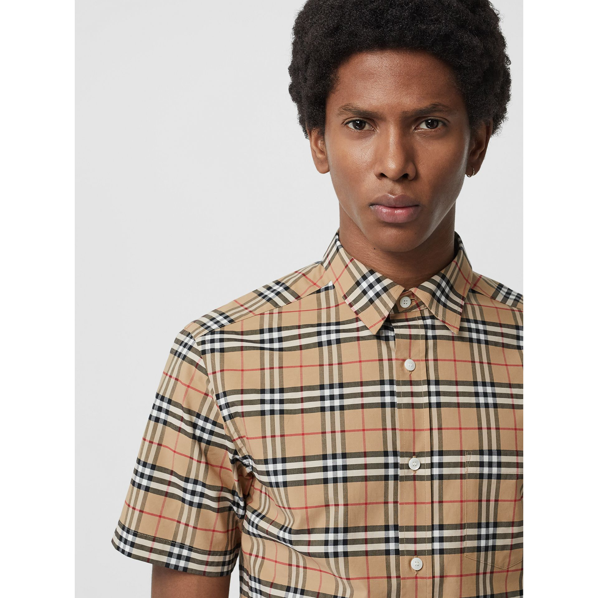 Short-sleeve Check Stretch Cotton Shirt in Camel - Men | Burberry United Kingdom - gallery image 1