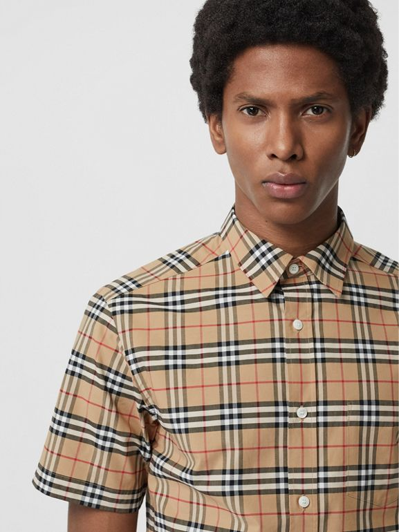 Short-sleeve Check Stretch Cotton Shirt in Camel - Men | Burberry Hong Kong - cell image 1