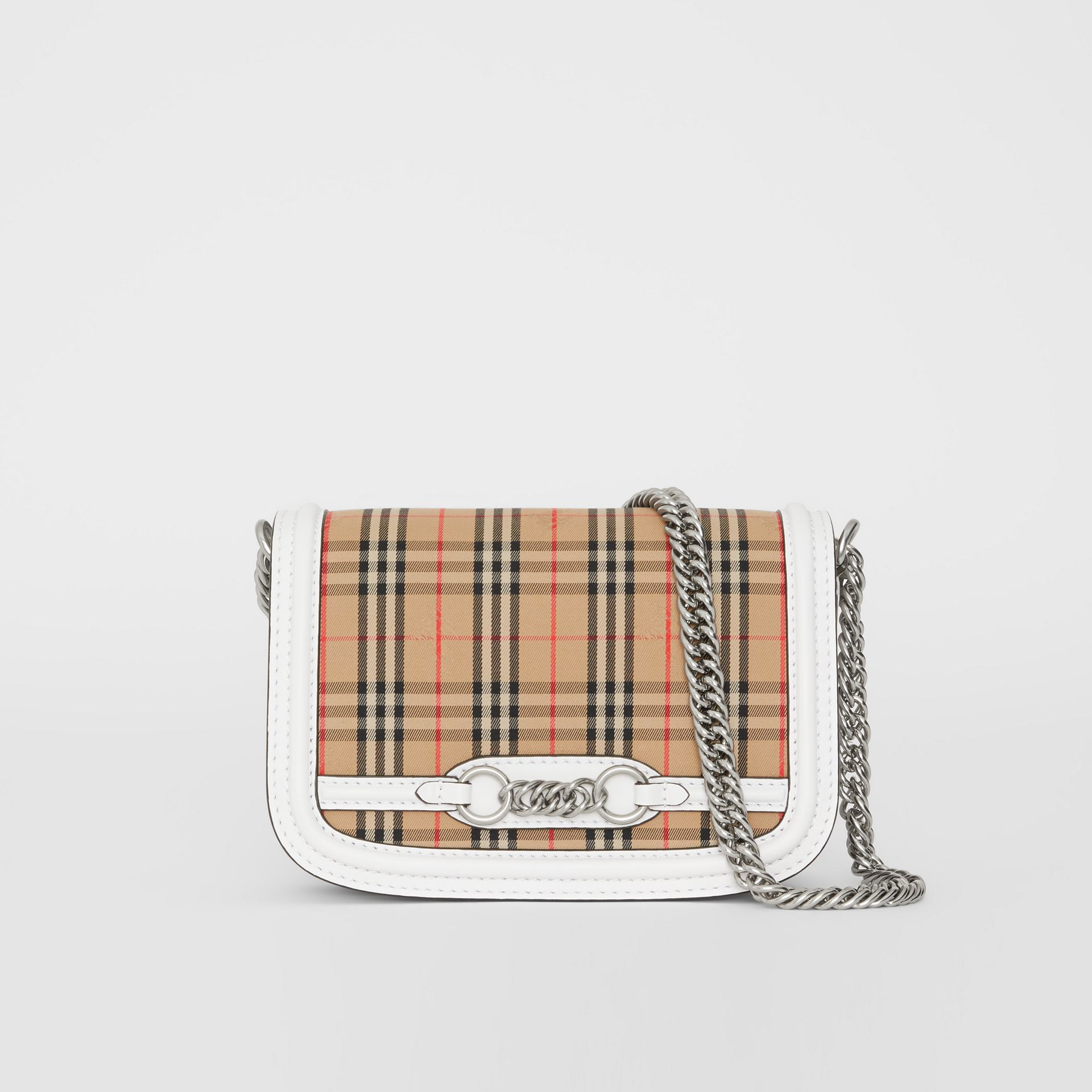 The 1983 Check Link Bag with Leather Trim in Chalk White - Women | Burberry - gallery image 0