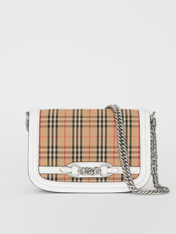 The 1983 Check Link Bag with Leather Trim in Chalk White