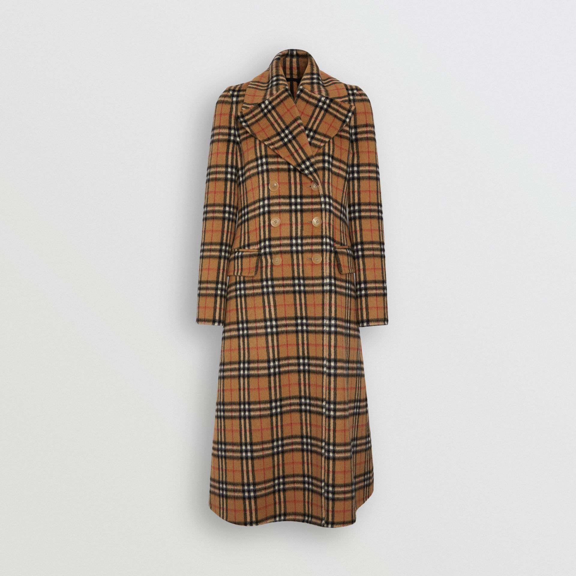 Manteau ajusté en alpaga à motif Vintage check (Jaune Antique) - Femme | Burberry - photo de la galerie 3
