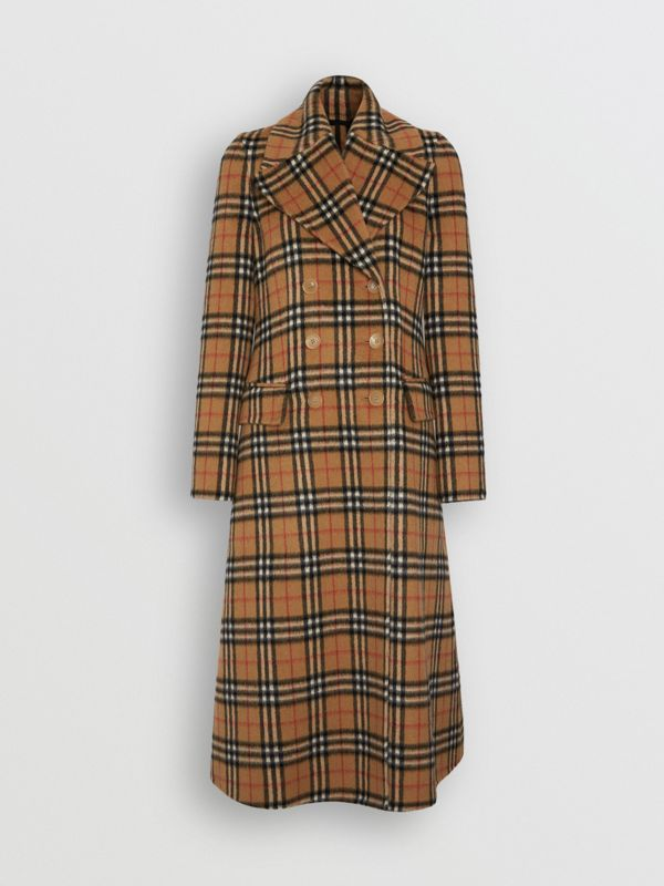 Vintage Check Alpaca Wool Tailored Coat in Antique Yellow - Women | Burberry Singapore - cell image 3