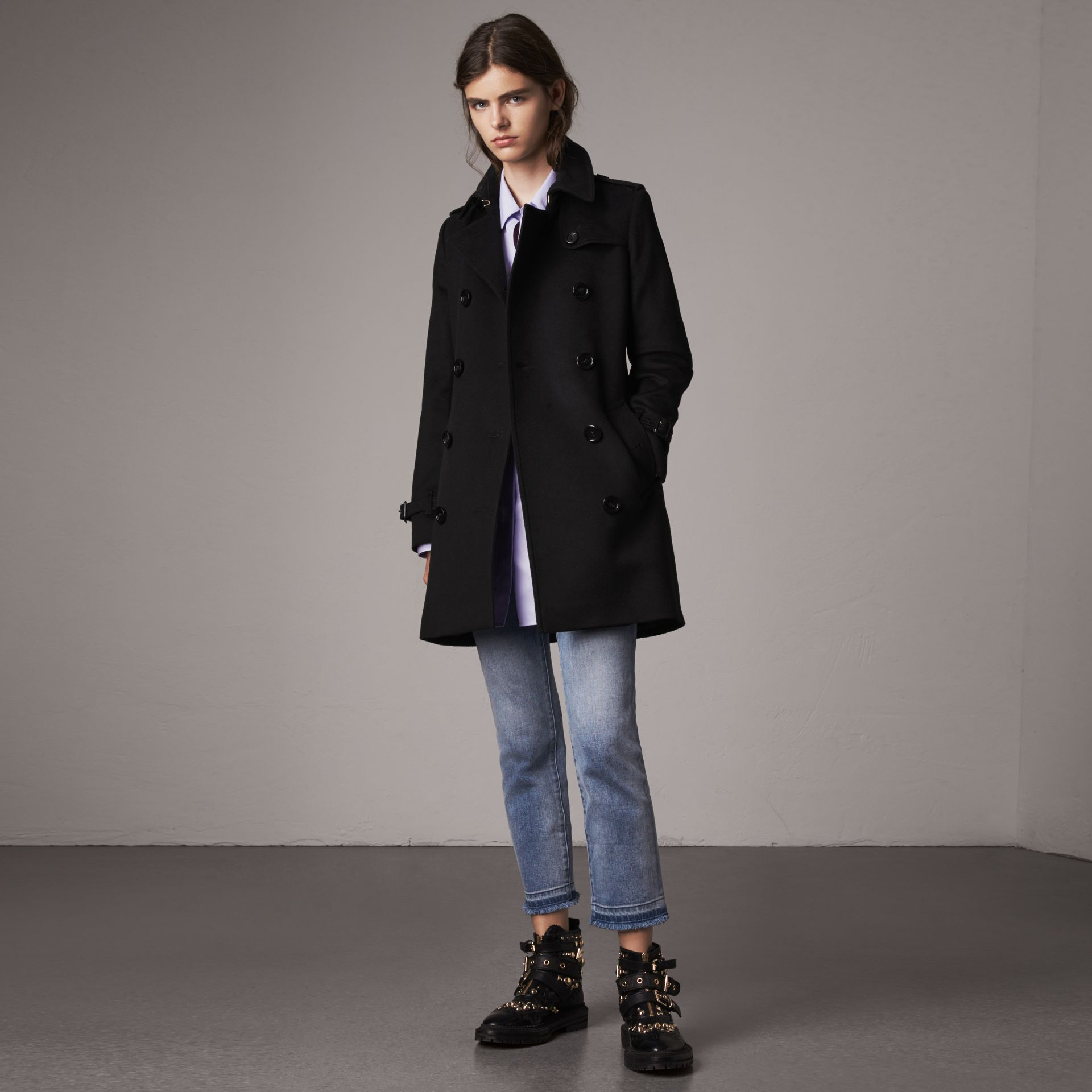Wool Cashmere Trench Coat in Black - Women | Burberry - gallery image 0
