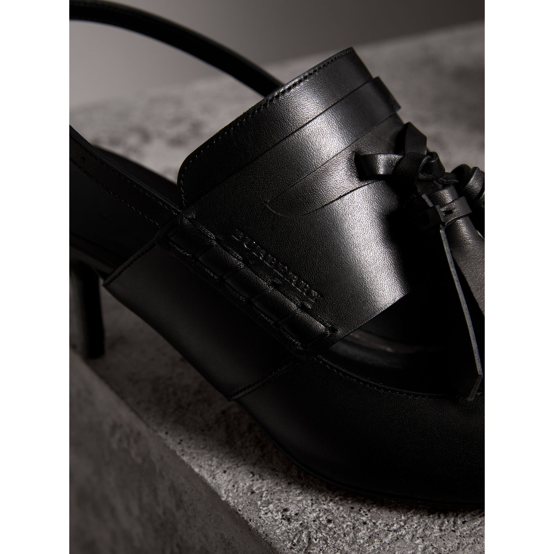 Tassel Detail Leather Kitten-heel Sandals in Black - Women | Burberry United Kingdom - gallery image 1