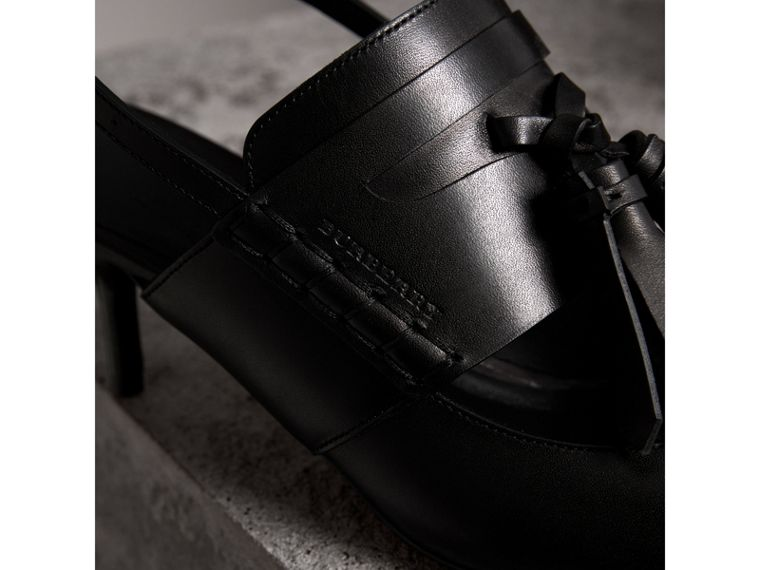 Tassel Detail Leather Kitten-heel Sandals in Black - Women | Burberry - cell image 1