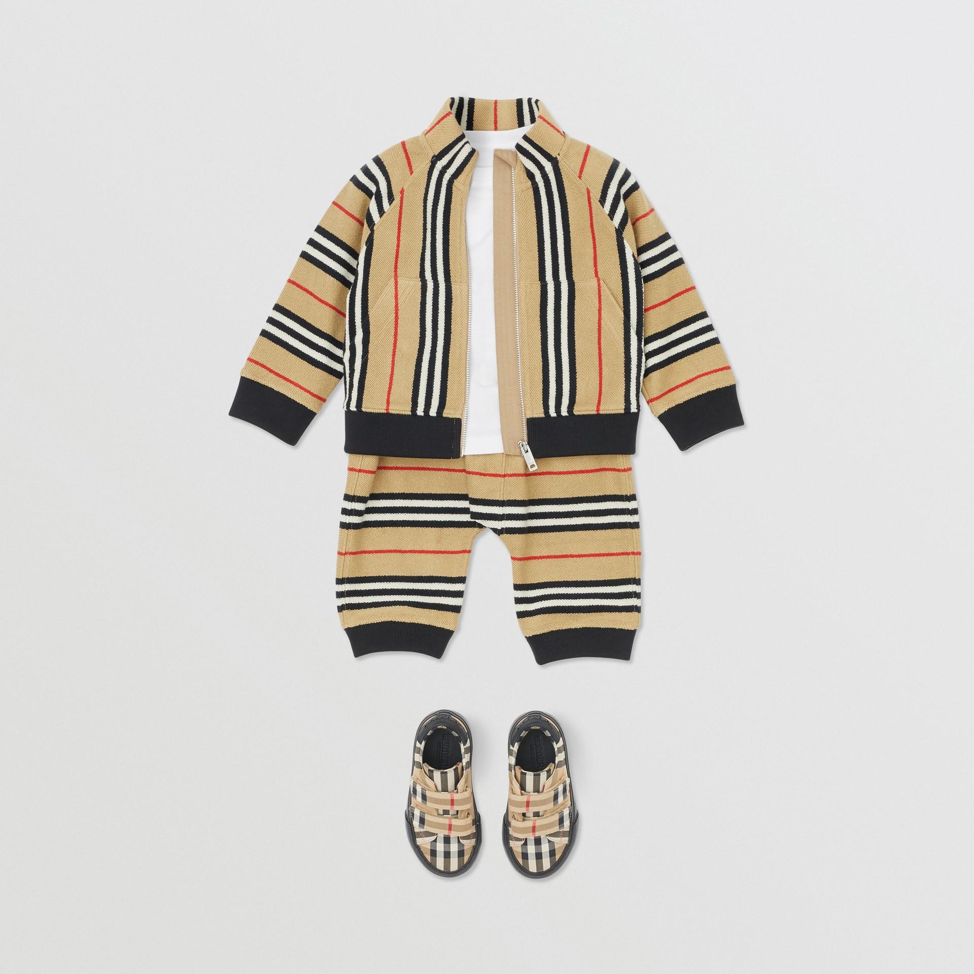 Icon Stripe Cotton Track Top in Archive Beige - Children   Burberry United Kingdom - gallery image 3