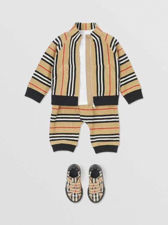 Trainingsjacke im charakteristischen Streifendesign (Vintage-beige)