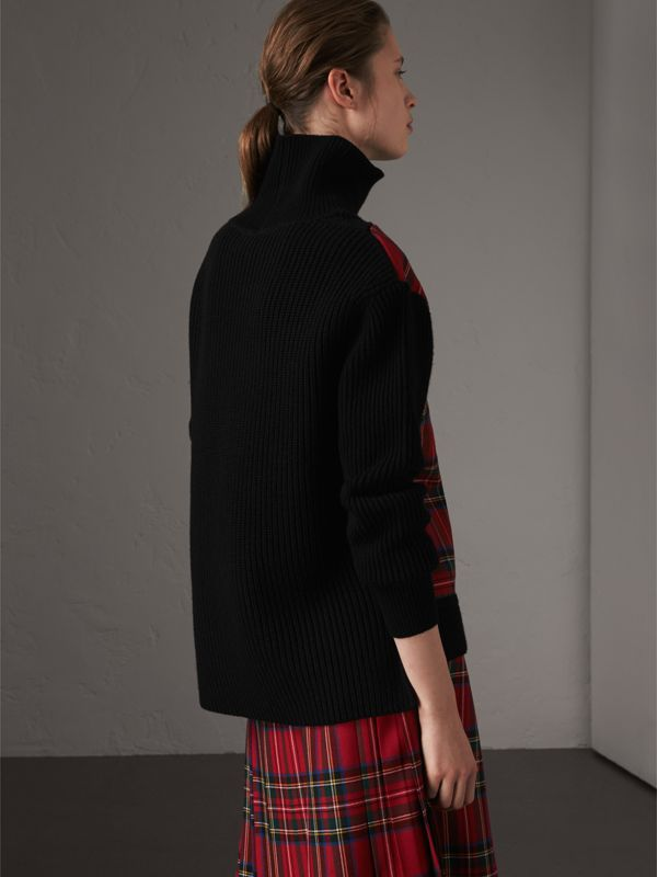 Tartan Panel Wool Cashmere Roll-neck Sweater in Red/navy - Women | Burberry United Kingdom - cell image 2