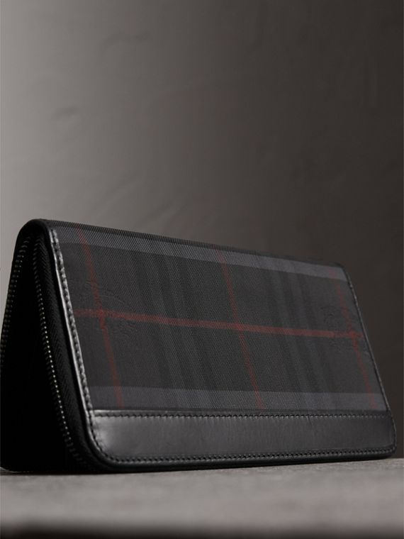 Horseferry Check Ziparound Wallet in Charcoal/black - Men | Burberry Singapore - cell image 2