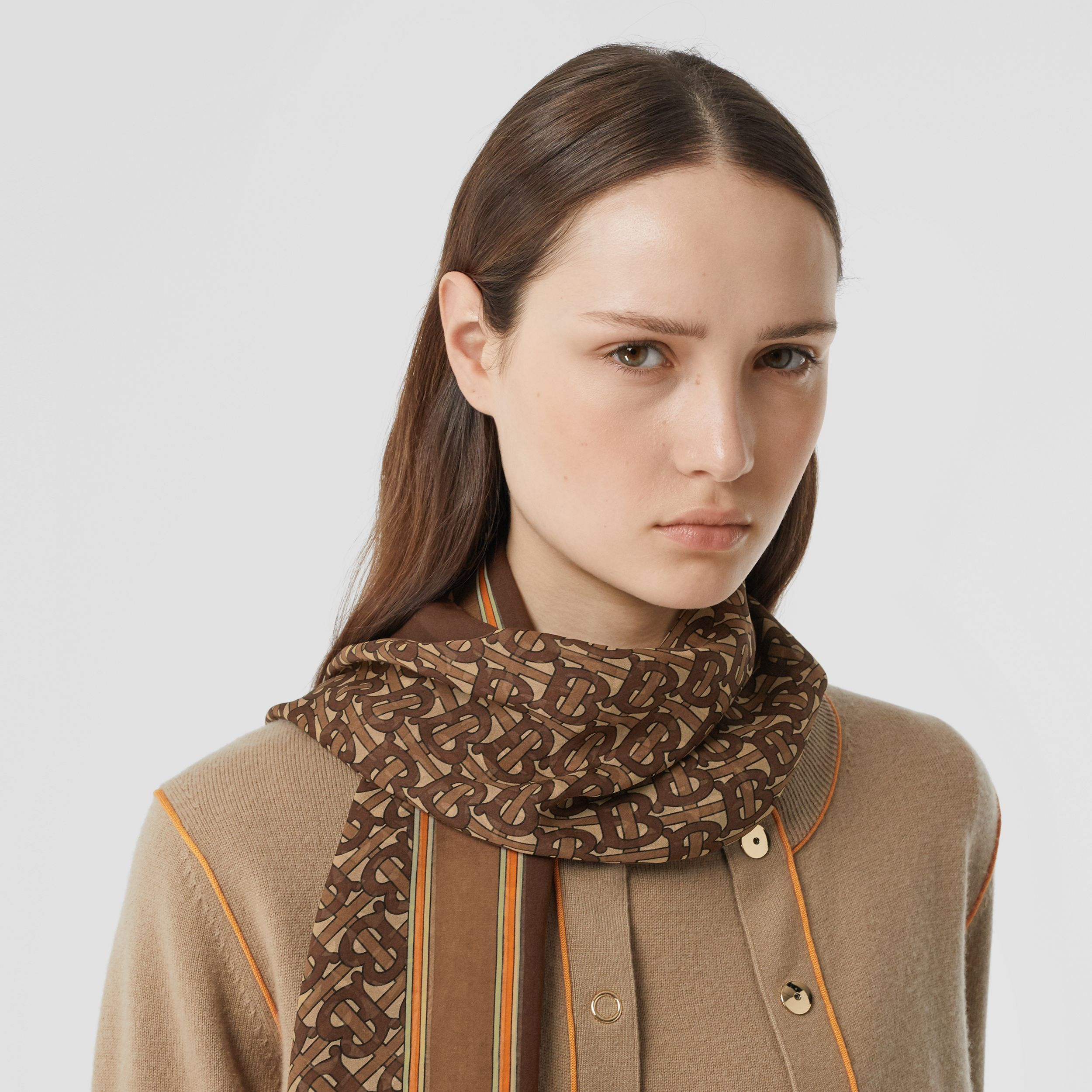 Monogram Print Silk Chiffon Scarf in Bridle Brown | Burberry - 3