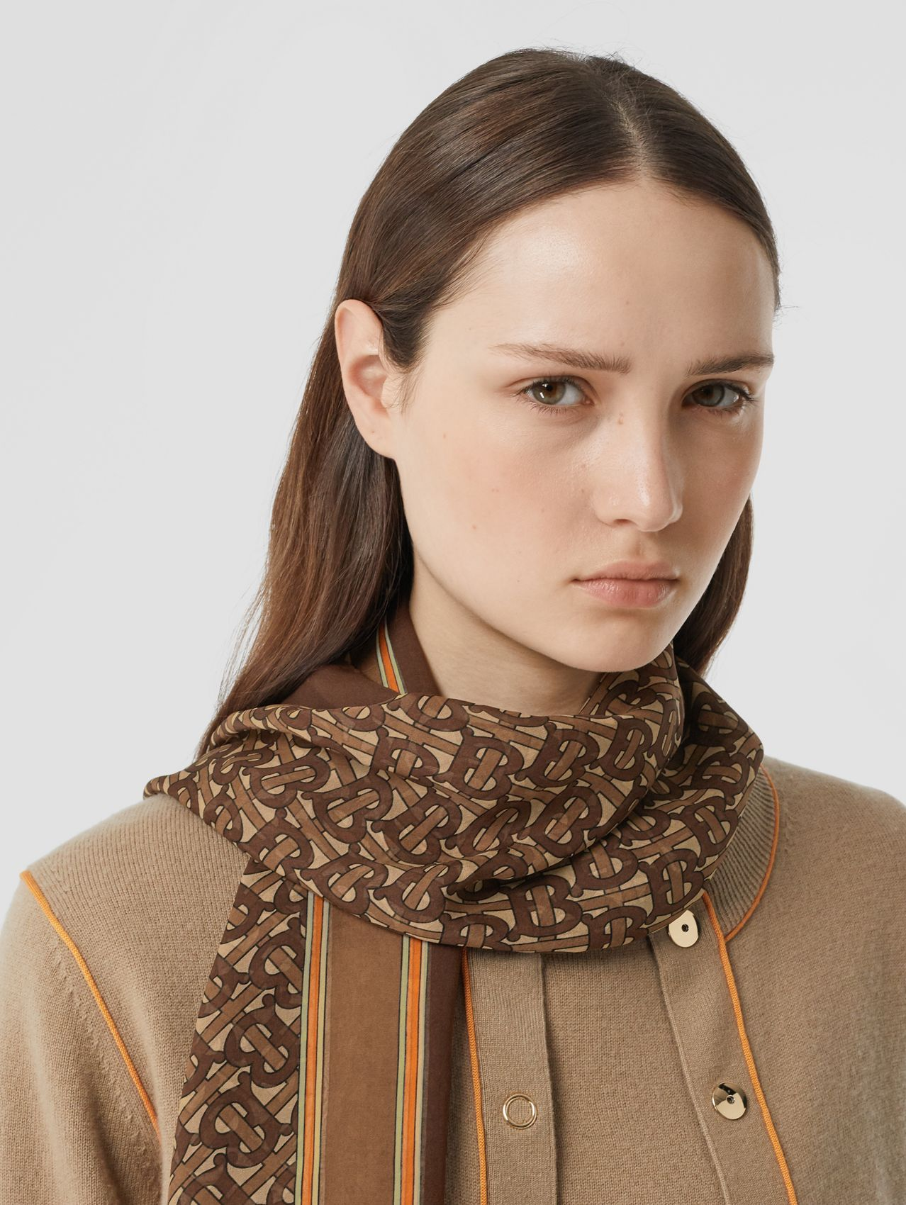 Monogram Print Silk Chiffon Scarf (Bridle Brown)