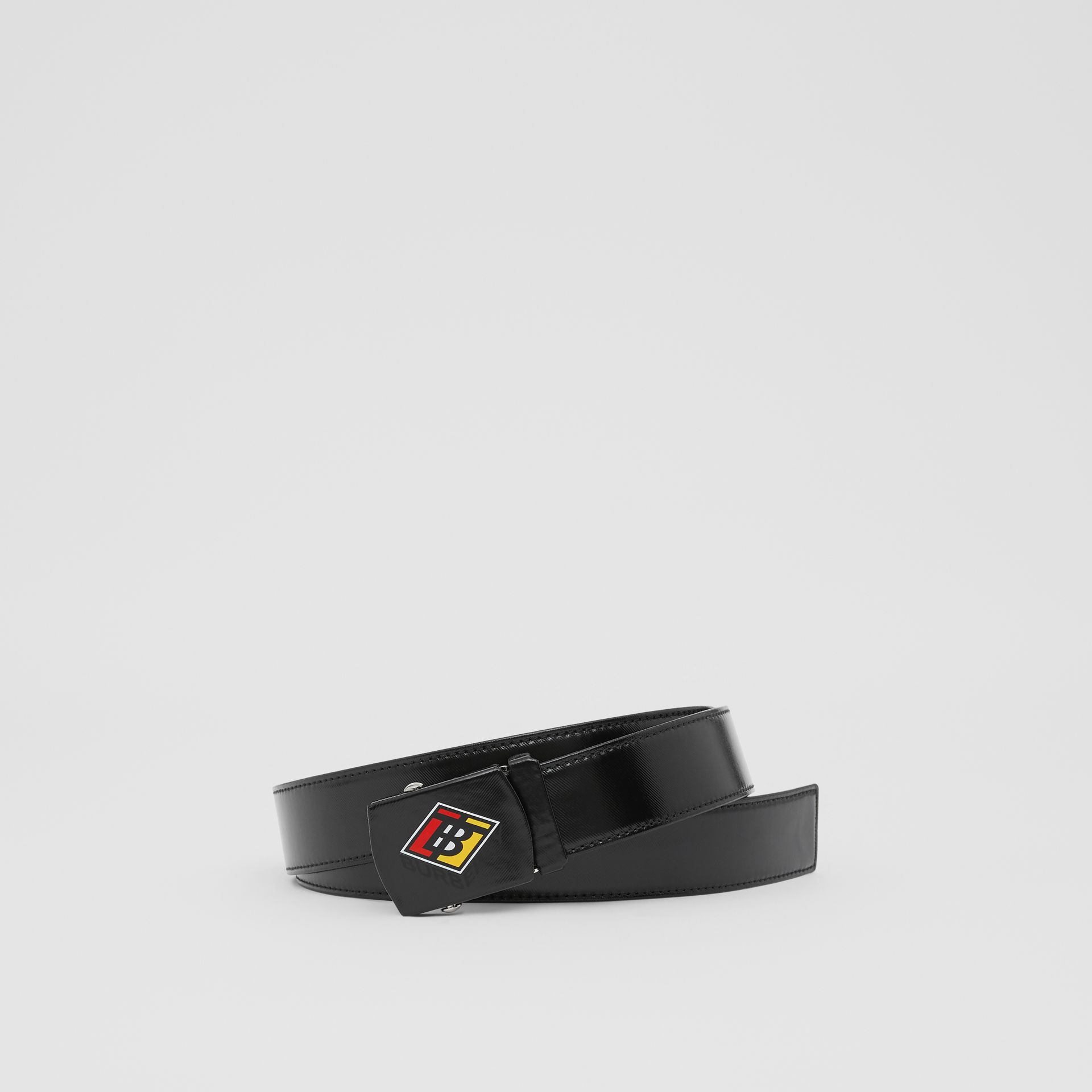 Logo Graphic Plaque Buckle Canvas Belt in Black - Men | Burberry - gallery image 0