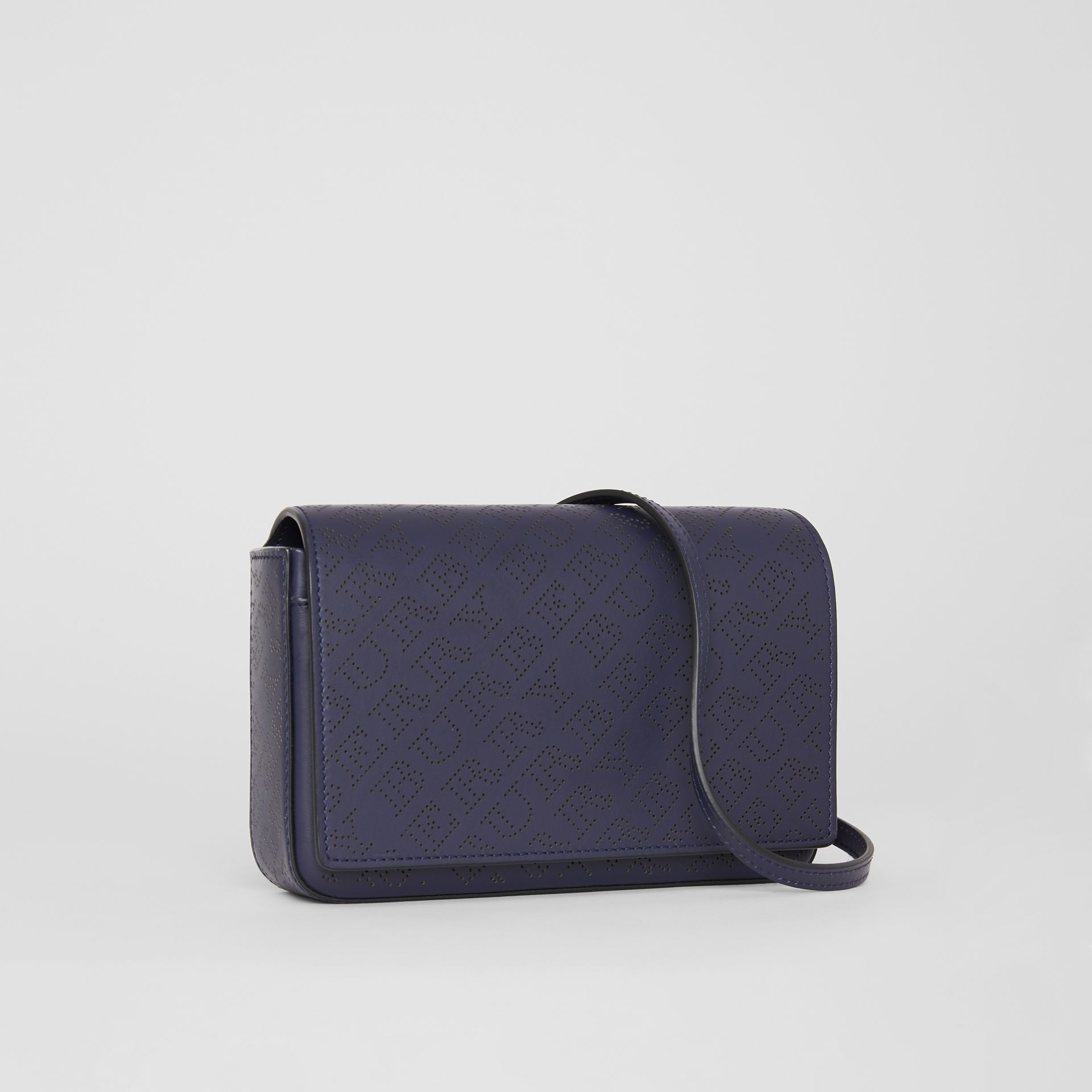 Perforated Logo Leather Wallet with Detachable Strap in Navy - Women | Burberry Australia - gallery image 4