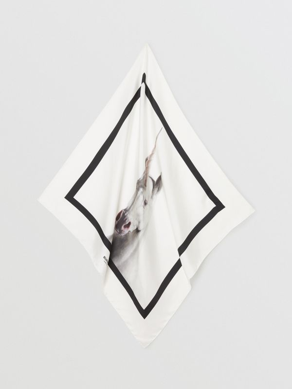 Unicorn Print Silk Square Scarf in White | Burberry - cell image 2
