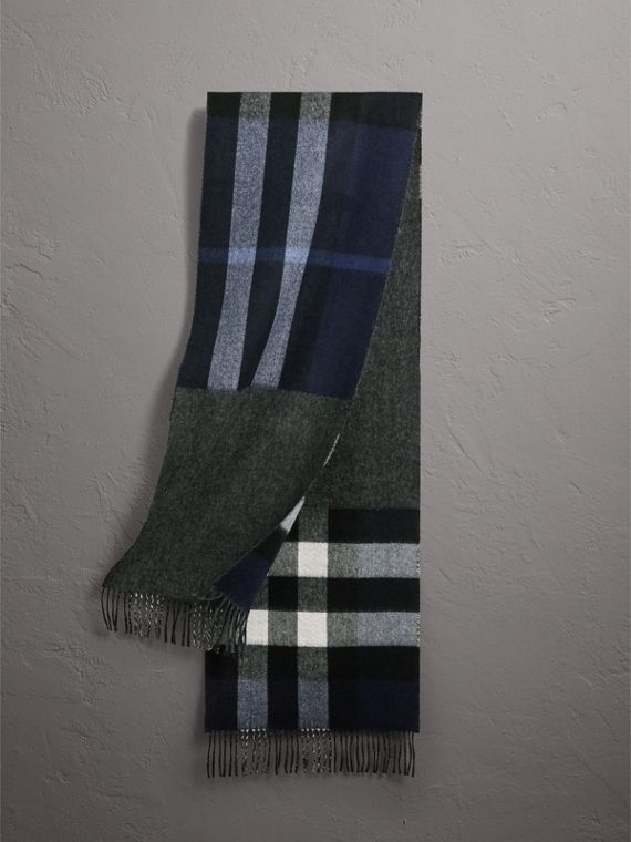 Reversible Check and Melange Cashmere Scarf in Indigo