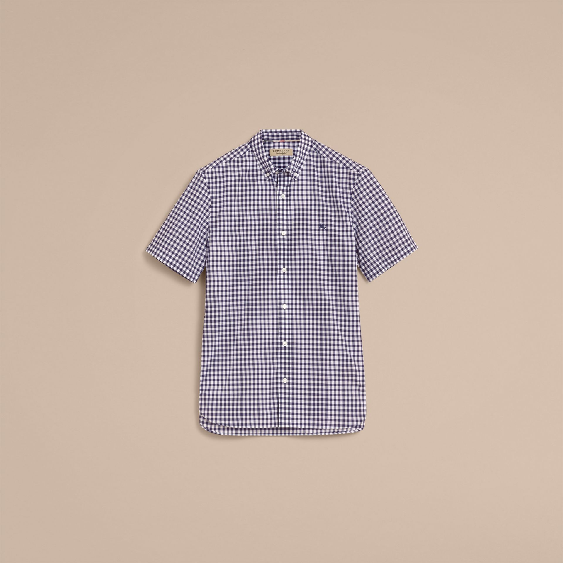 Short-sleeve Button-down Collar Cotton Gingham Shirt in Navy - Men | Burberry Canada - gallery image 4