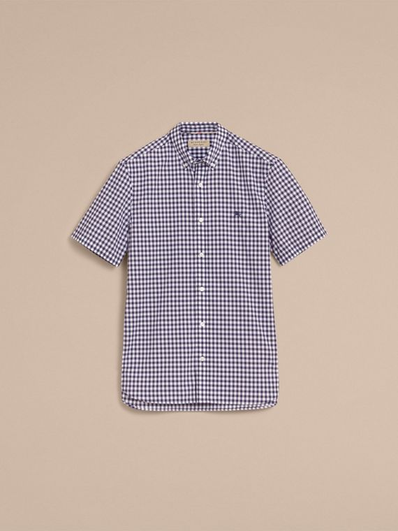 Short-sleeve Button-down Collar Cotton Gingham Shirt in Navy - Men | Burberry Canada - cell image 3