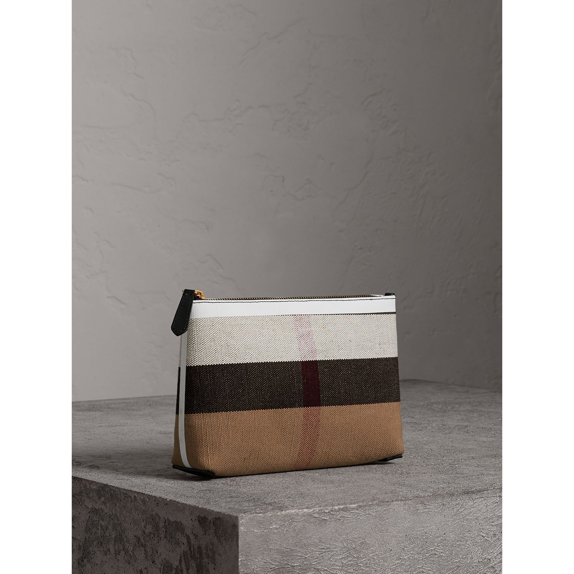 Medium Canvas Check and Leather Zip Pouch in Black/white - Women | Burberry Canada - gallery image 6