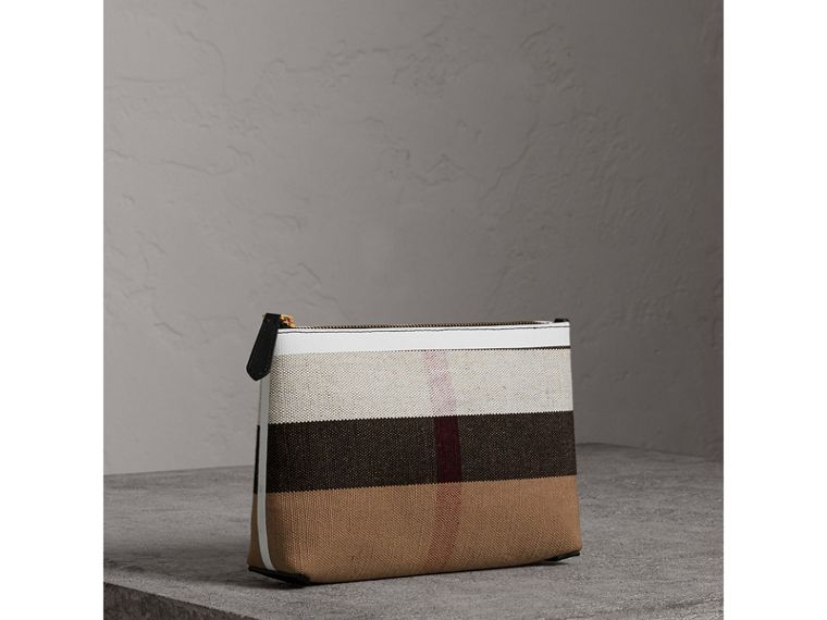 Medium Canvas Check and Leather Zip Pouch in Black/white - Women | Burberry - cell image 4