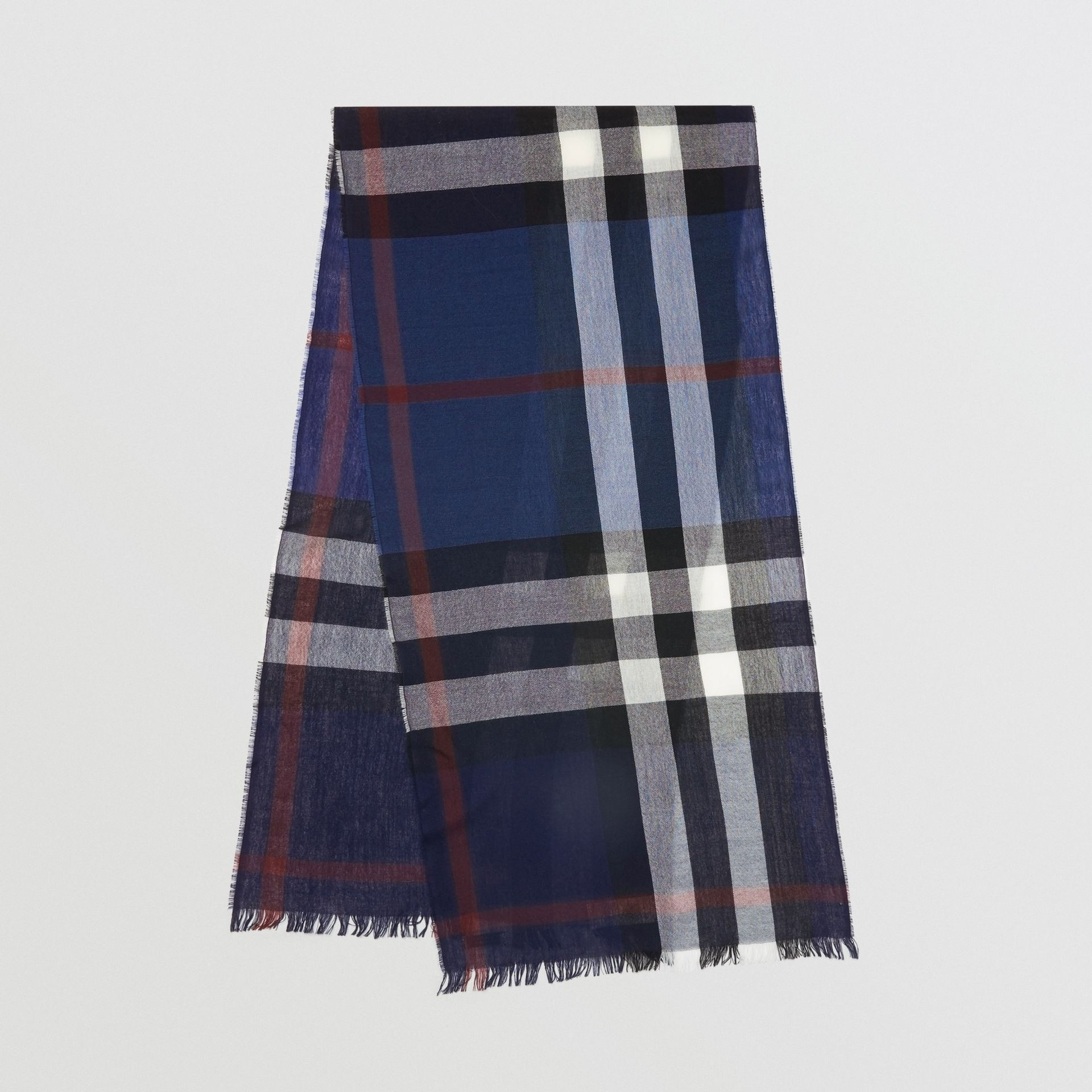 Lightweight Check Wool Cashmere Scarf in Navy | Burberry Canada - gallery image 0