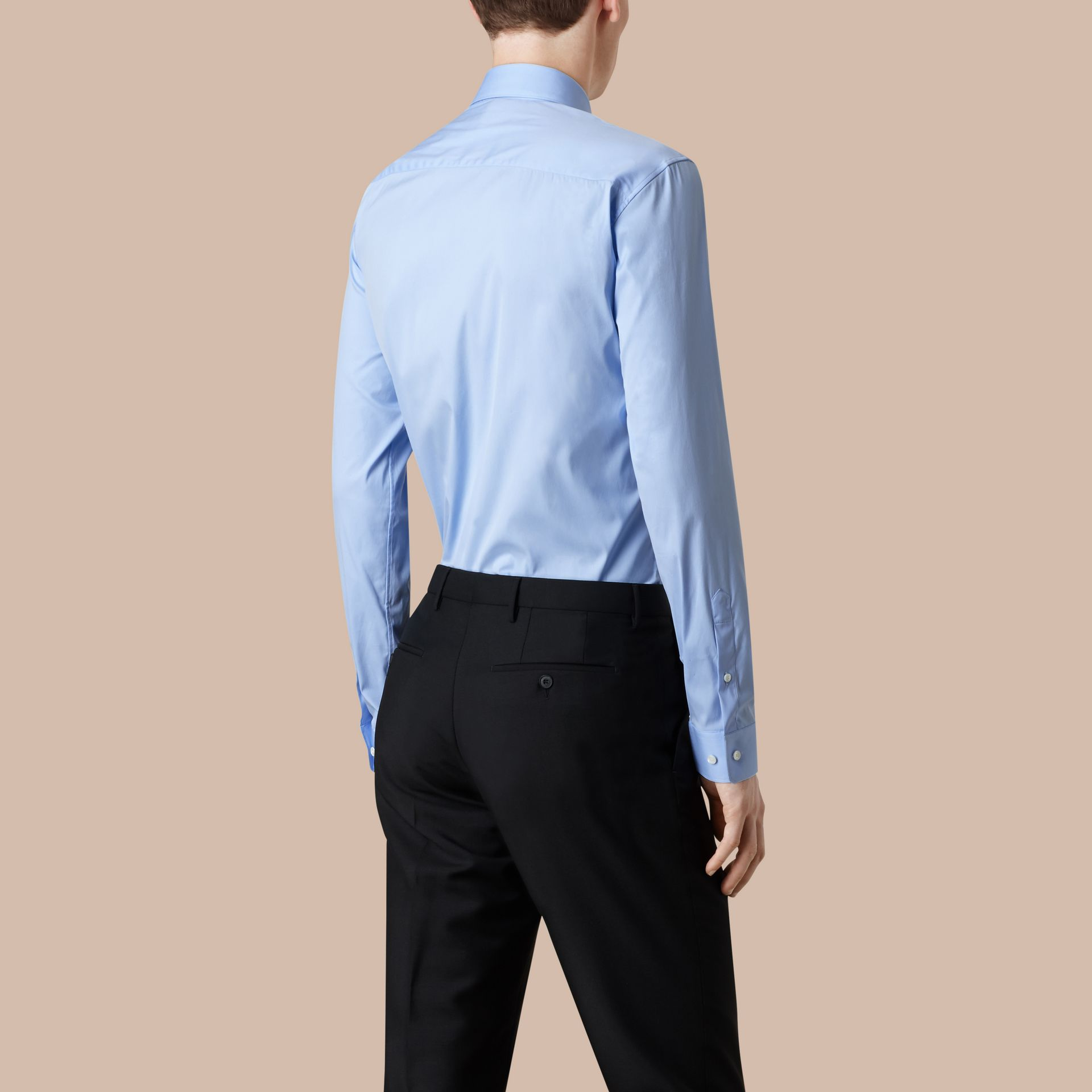 Modern Fit Stretch Cotton Shirt in City Blue - gallery image 3