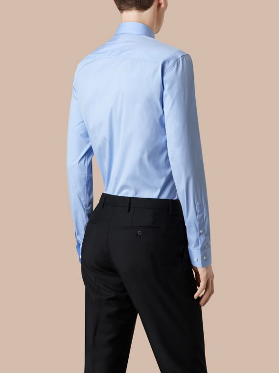 Modern Fit Stretch Cotton Shirt in City Blue - Men | Burberry - cell image 2