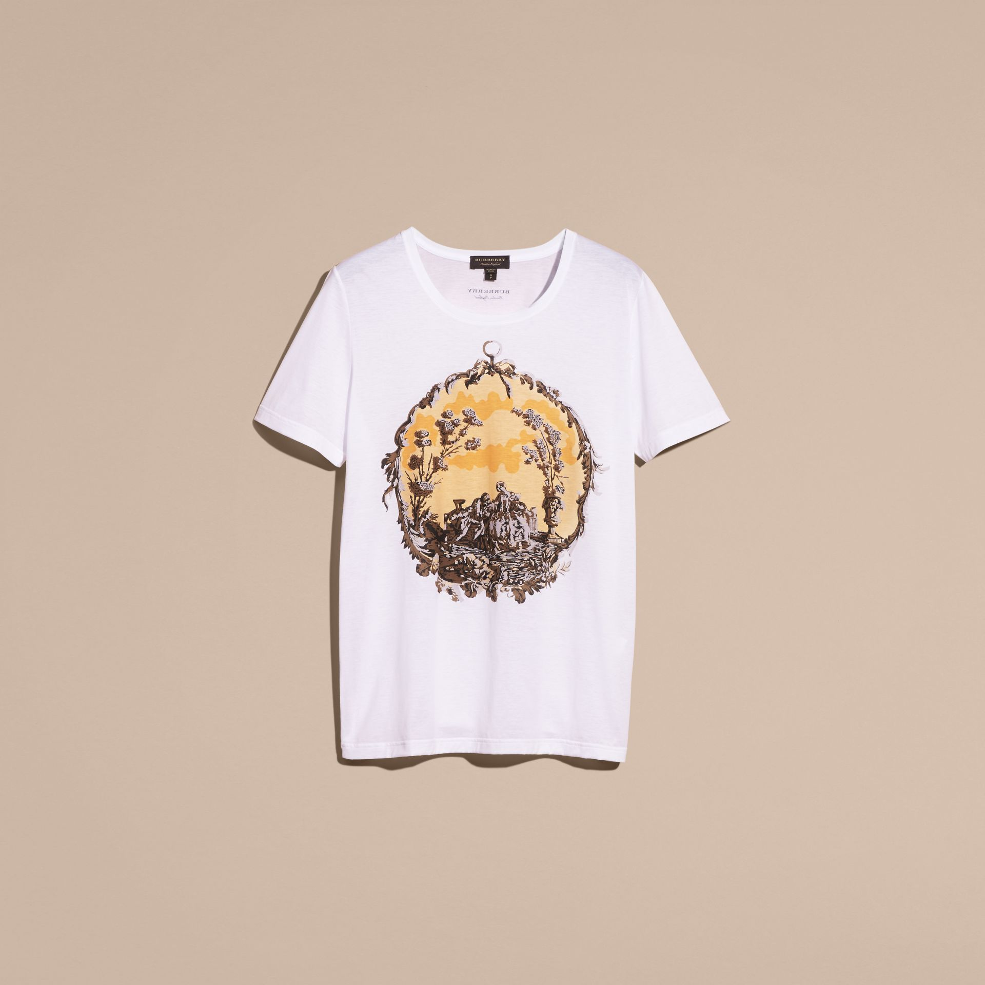 White Wallpaper Print Cotton T-shirt - gallery image 4